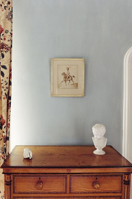 Farrow and Ball  Light Blue No. 22      If you wish for a slightly light blue room this, rather than the more obviously blue blues, is the one to try. Mid Tones undercoat.