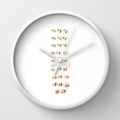 abc Wall Clock #awesome #contemporary #wall #clock #ingz #Society6 #abc #alphabet #white #minimalistic