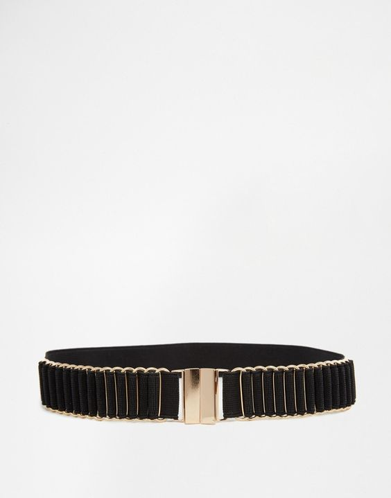 New Look Stretch Waist Belt With Gold Hardware