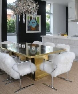 .fur chairs, gold table