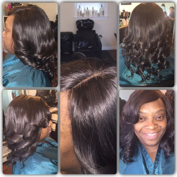 Full head sew in lace front side part
