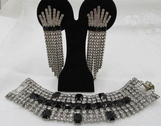 Gorgeous Lot Crystal and Black Art Deco Rhinestone 7 row Bracelet and Dangle ER #thickrow
