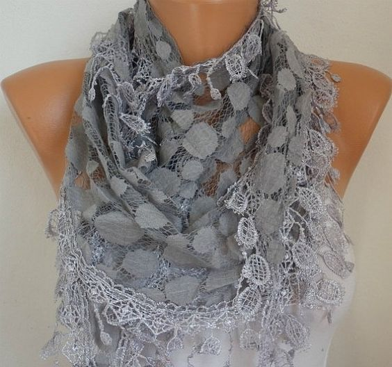 Gray Lace  Scarf . by fatwoman, $21.00