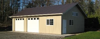 Deluxe 2 car garage with shop bellingham pole buildings for Garage low cost