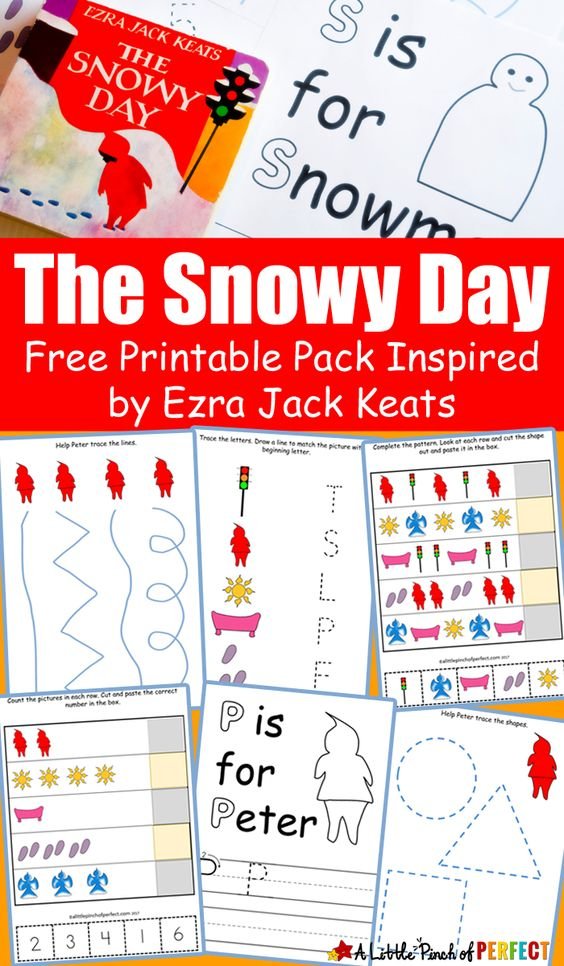 The Snowy Day Free Printable Pack Inspired by Ezra Jack Keats: As kids enjoy a winter day with Peter they can practice writing skills, numbers, letters, coloring and more with this 25 page free printable activity pack. (preschool, kindergarten)