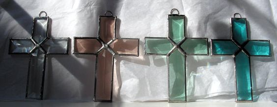 Beautiful prism cut beveled crosses to celebrate the risen Christ. The crosses may be small but they speak volumes. Hang them from you
