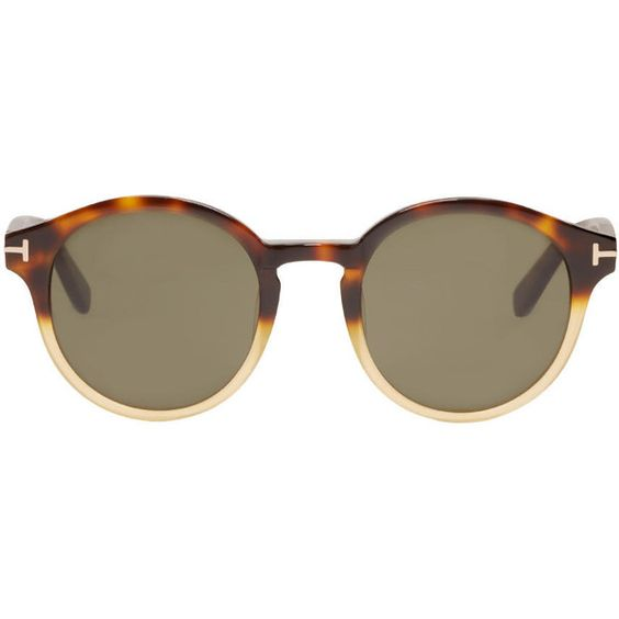 Tom Ford Tortoiseshell Lucho Sunglasses (€345) ❤ liked on Polyvore featuring accessories, eyewear, sunglasses, glasses, acetate sunglasses, tortoise shell sunglasses, round sunglasses, uv protection sunglasses and logo sunglasses