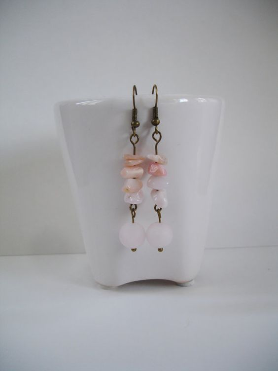 Gorgeous Long Drop Dangle Rose quartz Earring by FreeRangeLondon, £12.00