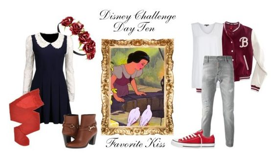 """""""Disney Challenge Day Ten ;; Favorite Kiss ;; Snow White and Prince Ferdinand"""" by thevillainesswildcard ❤ liked on Polyvore featuring H&M, Oska, Dsquared2, Forever 21, Burberry, Rene, Converse, women's clothing, women's fashion and women"""