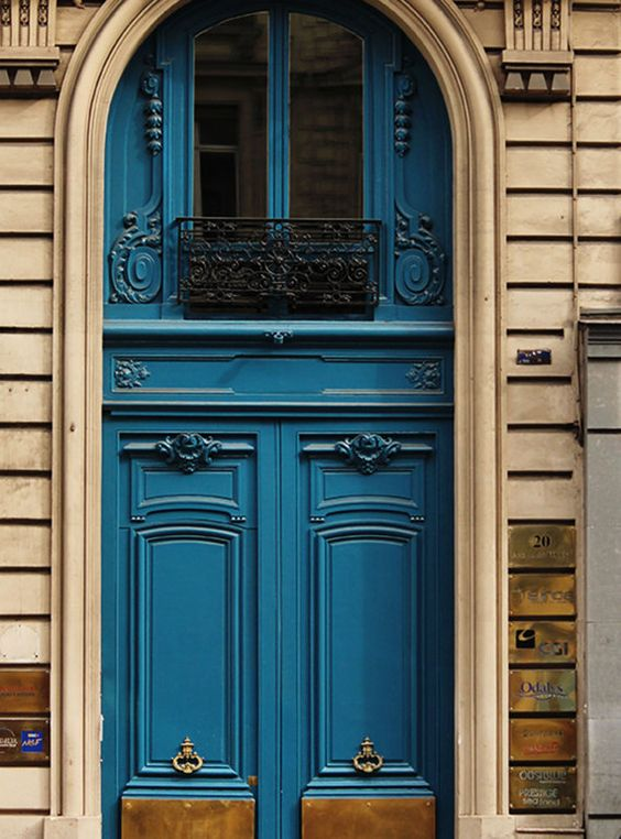 Parisian Blue Doors, Gold Accents, French Home Decor, Paris Photography, Door photo, Paris Prints, Monaco Blue, Autumn