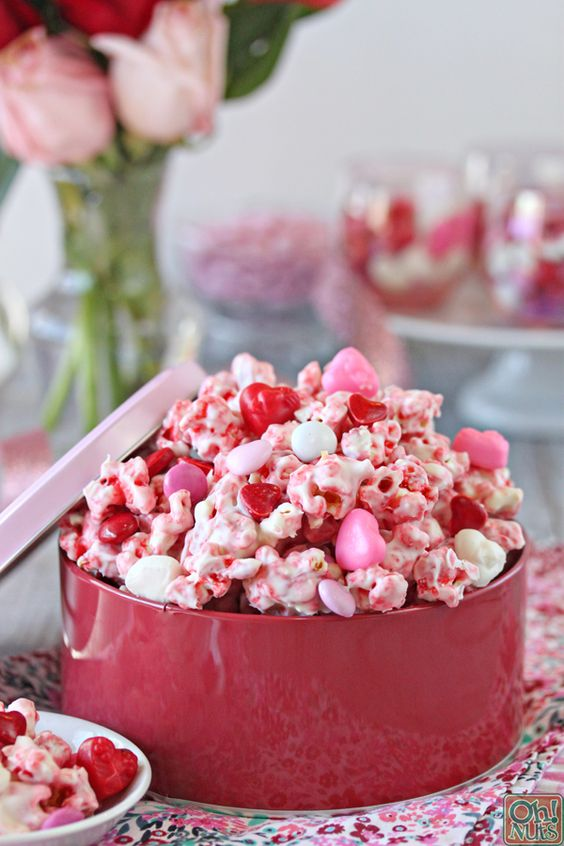 Perfectly Pink Valentine's Day Popcorn | From OhNuts.com
