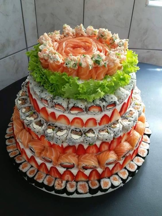 savoury wedding cake ideas a beautiful sushi cake found sushi 19685