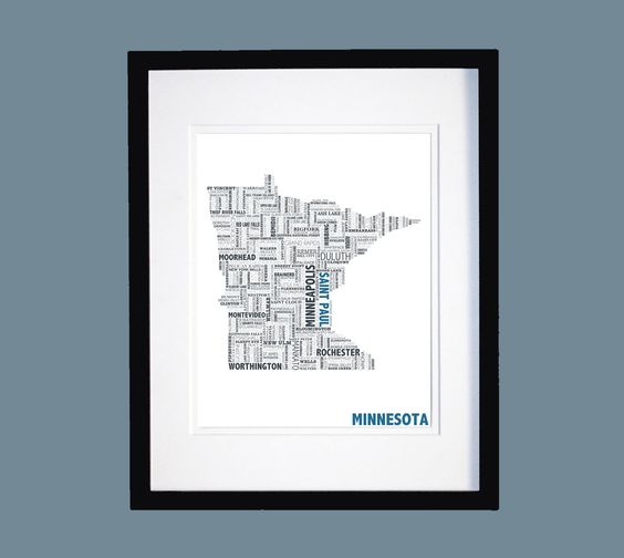 Minnesota Typographic Map. $20.00, via Etsy.