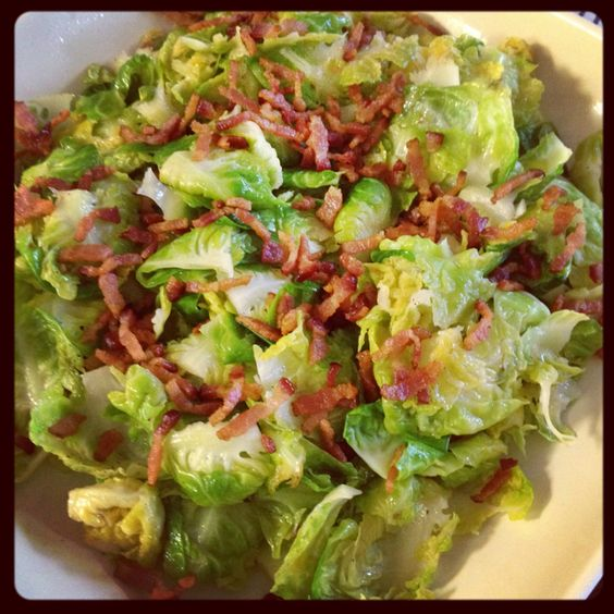 Sautéed Brussels sprouts with crisp bacon. My 8 yr old and 4 yr old gobble this up with abandon.