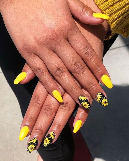 Short Coffin Yellow Nails With A Sunflower On Black Nails For The