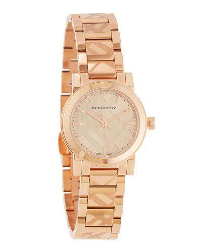 26mm Rose Golden Check-Stamped Bracelet Watch, Pink