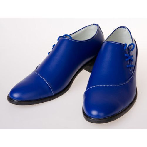 Royal Blue Leather Lace Up Wedding Best Man Prom Dress Shoes Men ...