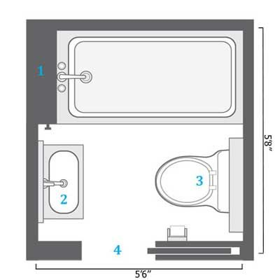 Small bathrooms small baths and floor plans on pinterest for Bathroom remodel 6x7