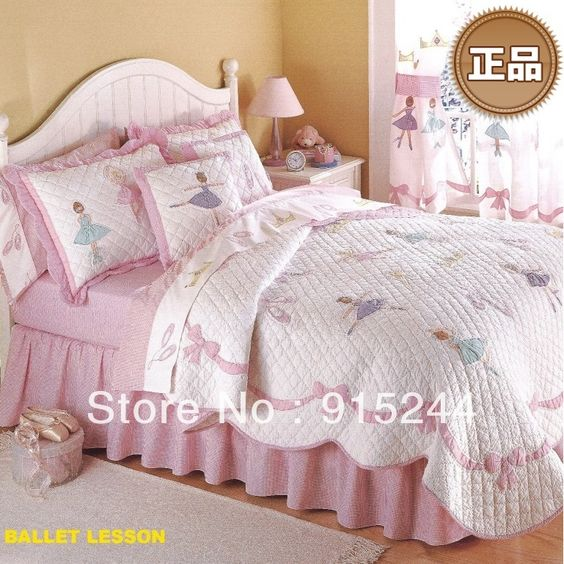 Quilting air conditioning young girl bed cover summer cool ballet water wash cotton patchwork quilting quilts kid pink bedspread $107.75
