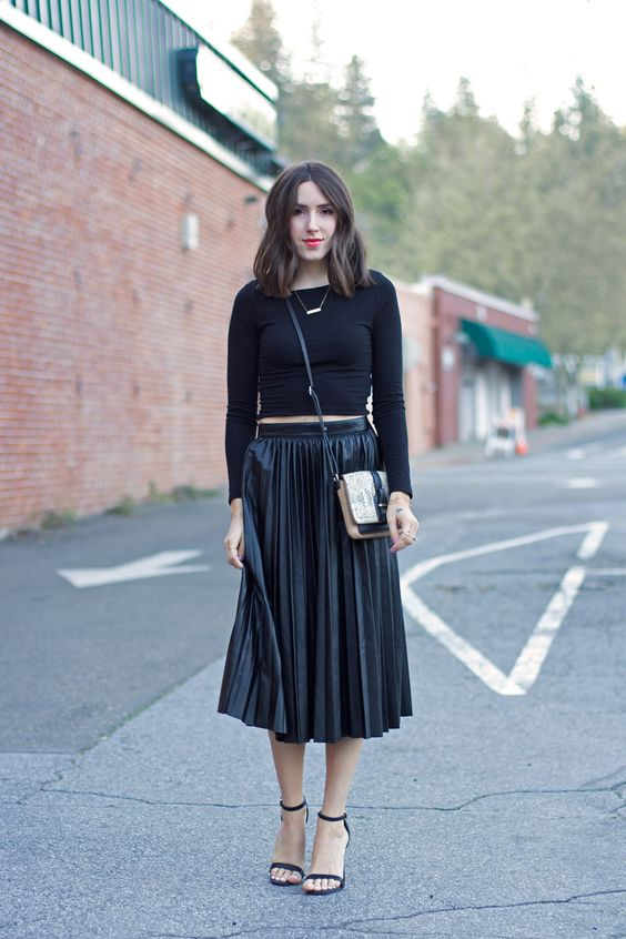 black crop top | black leather pleated midi skirt // Elements of ...