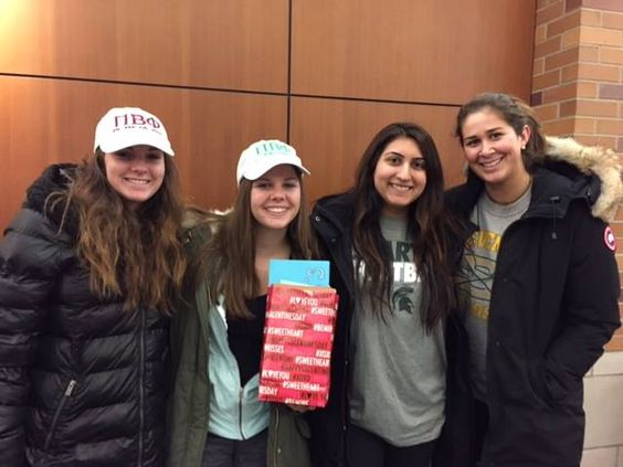 Pi Phi MSU made Valentine's Day cards for patients at Sparrow Hospital