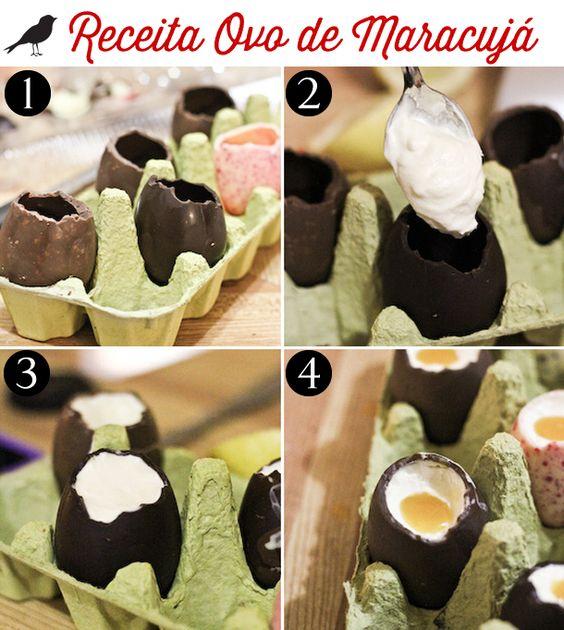 ovo recheado de mousse de maracujá, ovo de páscoa, sobremesa de páscoa, easter egg, diy, repice, easy recipe, chocolate: