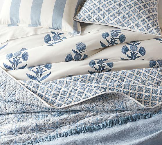 Annelyse Floral Print Organic Percale Duvet Cover Sham Gray Potterybarn Blue Duvet Cover Duvet Cover Pattern Summer Bedding