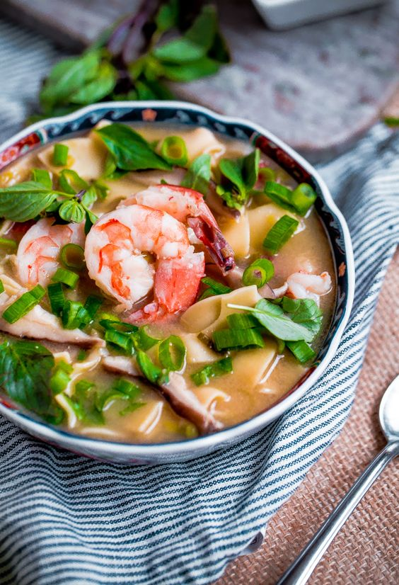 Asian shrimp, Noodle soups and Noodles on Pinterest