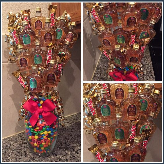 Crown Royal Apple & Crown Royal Maple Alcohol Arrangement aka Alcohol Bouquet ...made by me!