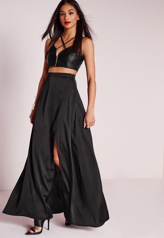 missguided jupe portefeuille longue en satin noir wishlist pinterest sombre nice et. Black Bedroom Furniture Sets. Home Design Ideas