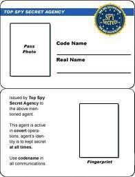 secret agent badge template free printable - Google Search   Finn ...