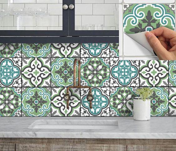 tuile sticker cuisine salle de bain sol mur imperm able l eau amovible peel stick n. Black Bedroom Furniture Sets. Home Design Ideas