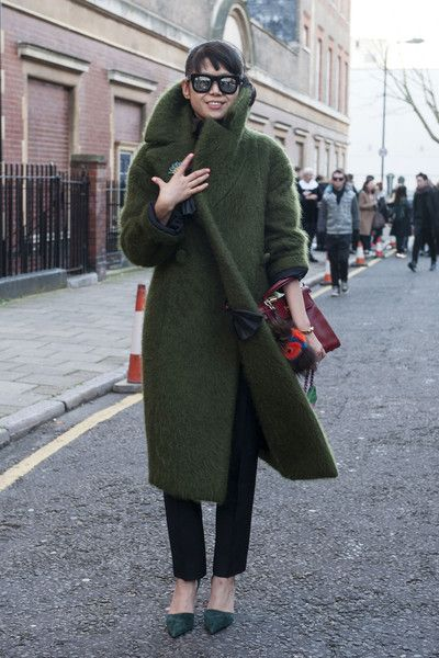 The Most Standout #StreetStyle at #LFW Fall 2014 // green coat: