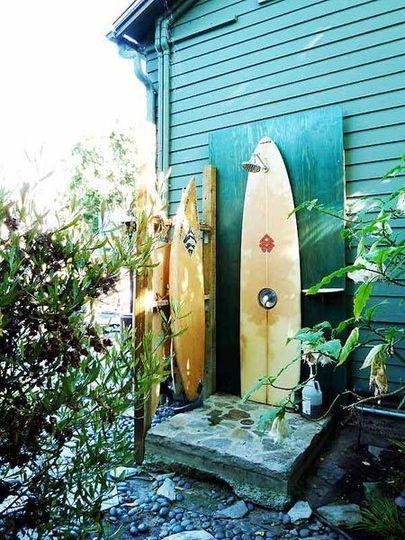 diy an outdoor shower made of surfboards going to make. Black Bedroom Furniture Sets. Home Design Ideas