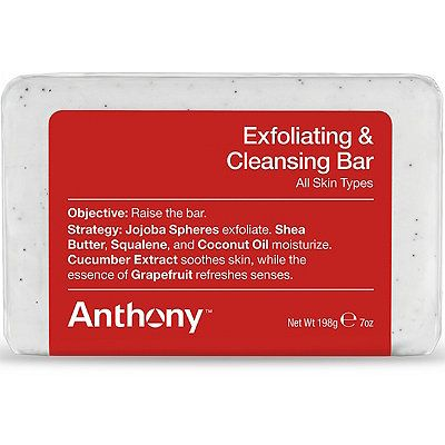 Raise the bar with the Exfoliating & Cleansing Bar by Anthony. Jojoba spheres exfoliate. Shea butter, squalene and coconut oil moisturize, cucumber extract soothes skin while essence of grapefruit refreshes the senses.