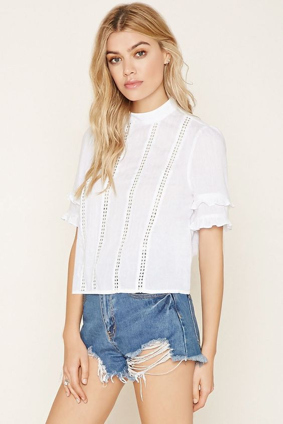 High-Neck Crocheted Top - New Arrivals Clothing - 2000152845 - Forever 21 EU English: