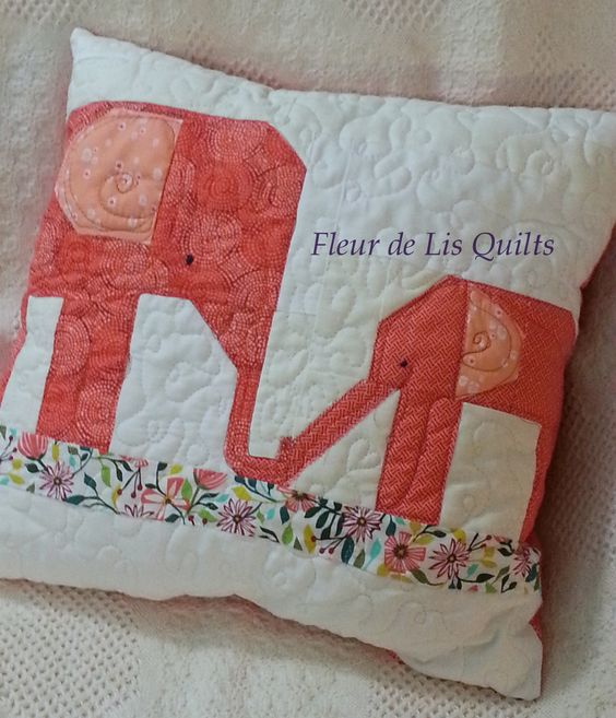 "My little elephant family...a momma and baby!  18"" X 18""    SOLD  www.fleurdelisquilts.blogspot.com"