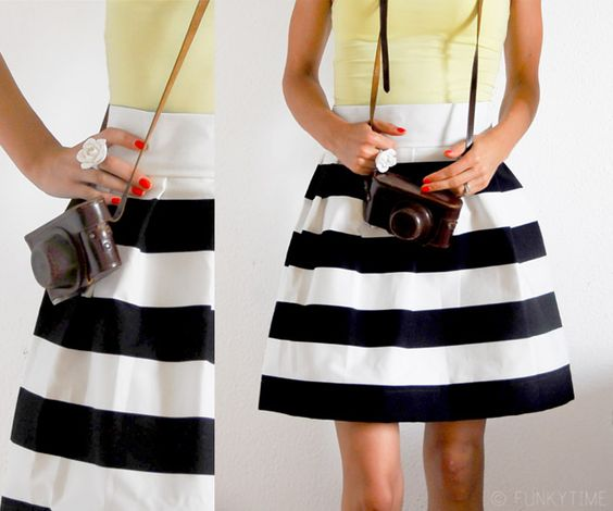 diy racing stripes skirt
