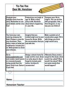 Printables Dear Mr Henshaw Worksheets dear mr henshaw tic tac toe activity sheet activities student have the students