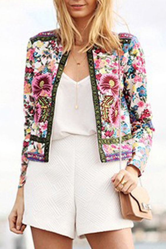 Ethnic Floral Printed Open Front Jacket - OASAP.com (i want a jacket of this type, but not this exact one)