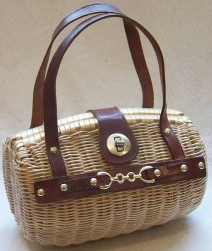 Woven Wicker Box Purse Simon Styled Ernest Blum Handbag Vintage Retro Leather