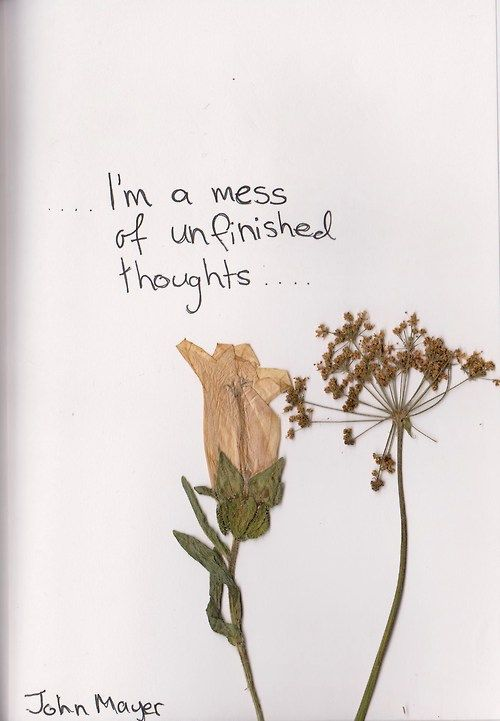 …. I'm a mess of unfinished thoughts….John Mayer.