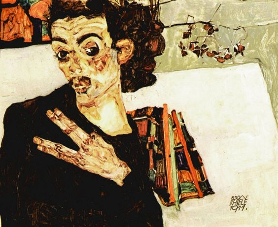 Self-Portrait with Black Vase and Spread Fingers by Egon Schiele Size: 27.5x34 cm Medium: oil on panel