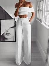 Pantalones De Verano De Cintura Alta Para Mujer Pantalones Anchos Informales De Color Solido Pantalones Holgados De Longitud Completa De Playa Para Mujer De T Ropa Pantalones De Moda Mujer Ropa