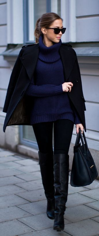 Oversized Navy Turtle neck Sweater + Over the Knee boots.