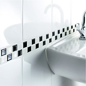 Ceramics mosaics and tile on pinterest for Wickes bathroom border tiles