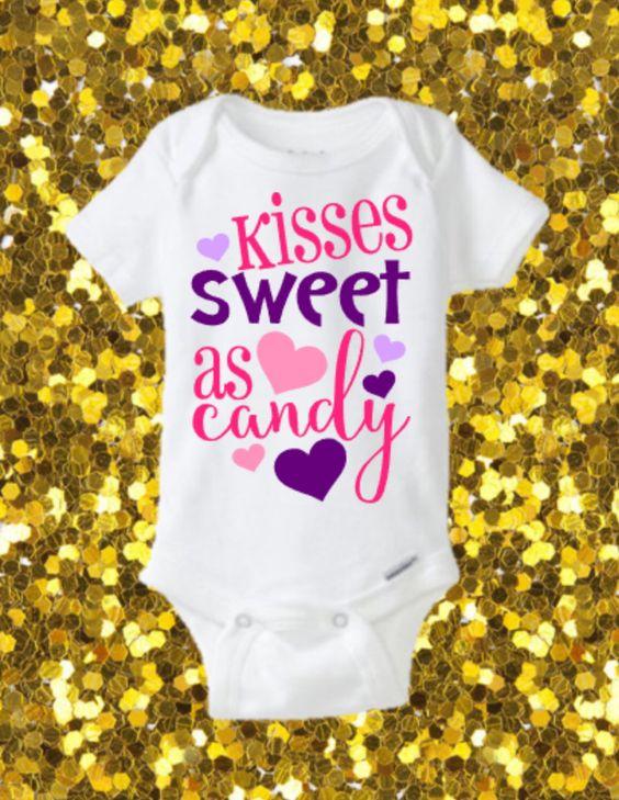 kisses sweet as candy onesie  valentines onesie  cute onesie  glitter onesie  valentine u0026 39 s day