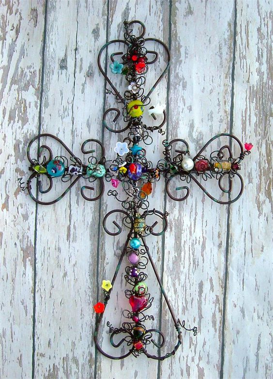 Large 15-Inch Beaded Iron Cross