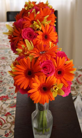 Gerber Daisy and Rose and Orchid Bridemaid Bouquet