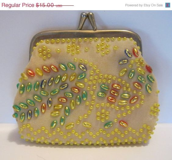 ON SALE Vintage Beaded Coin Change Purse by Sisters2Vintage, $13.20